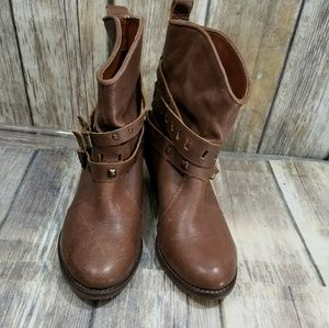 Steve Madden brown leather moto cowboy boot 5.5